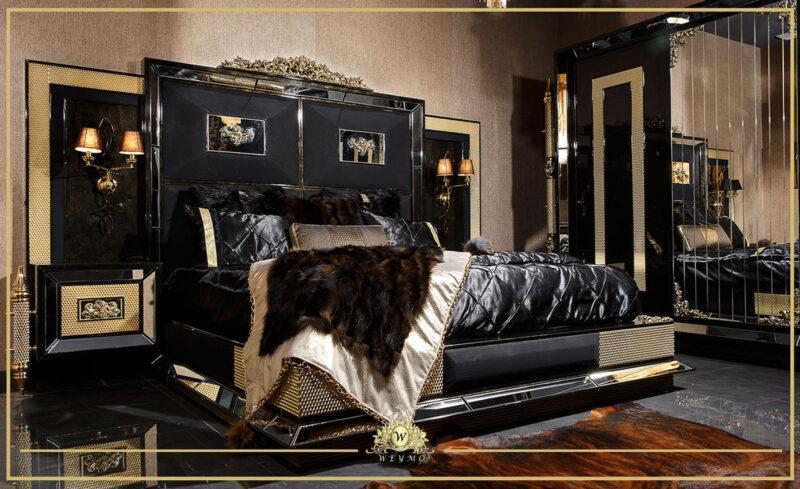 siyah yatak odası avangarde mobilya masko